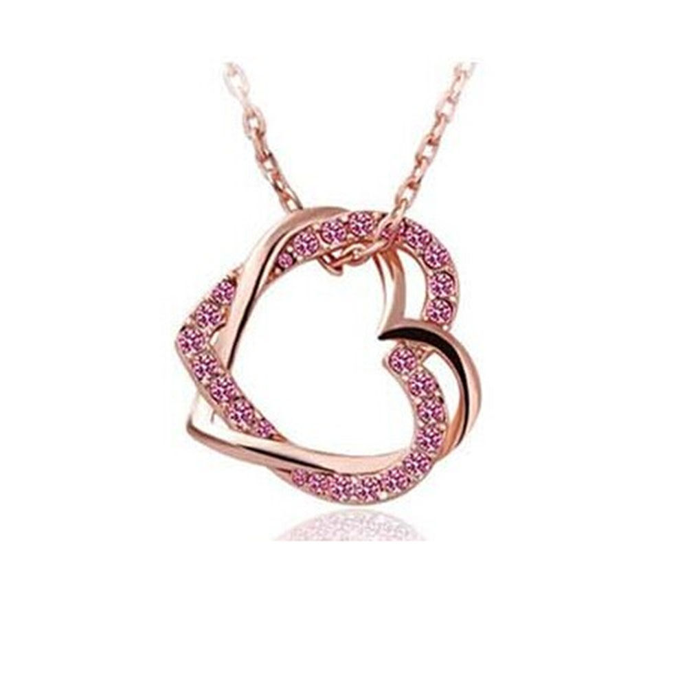 Crystal Double Heart Pendant Necklace Gold Pink