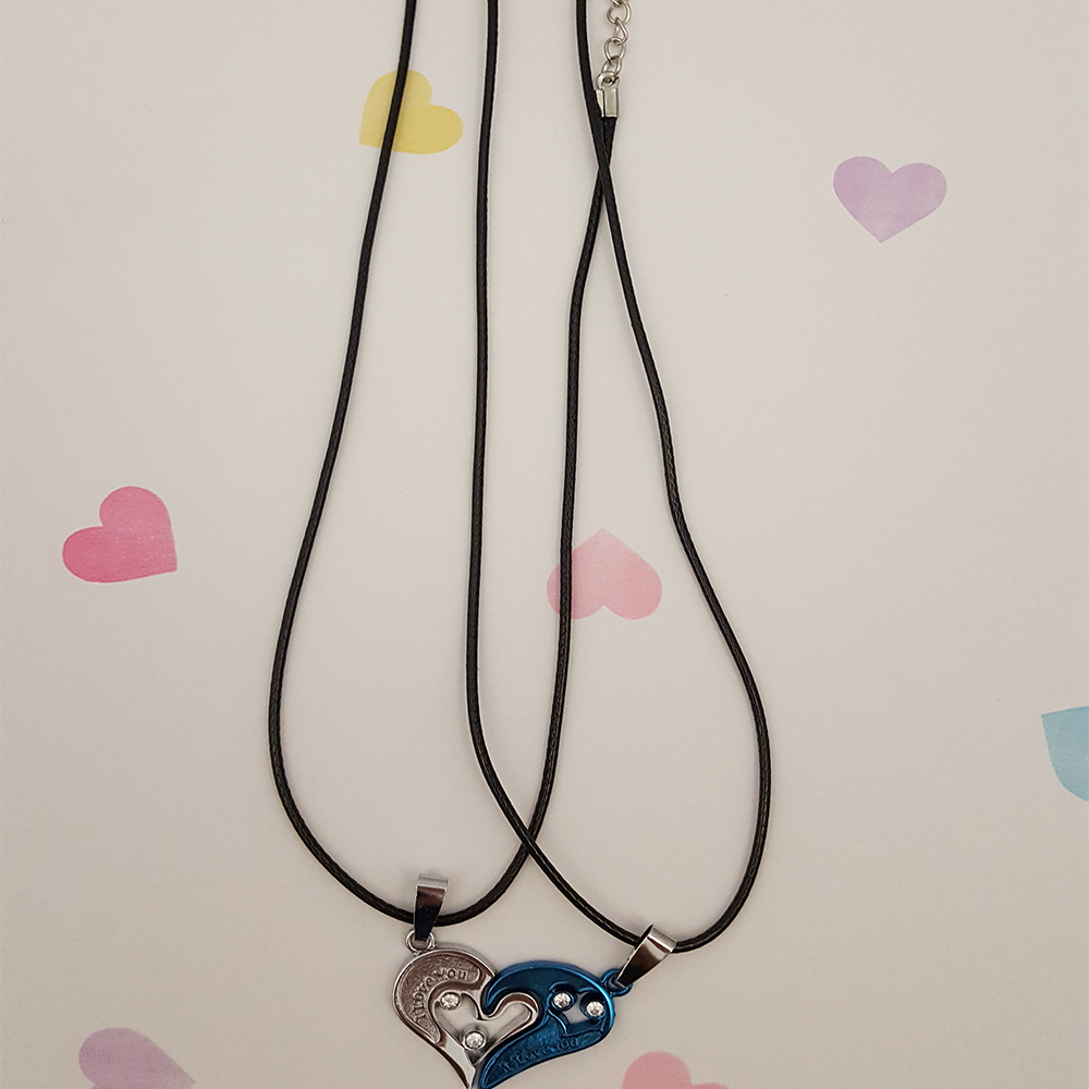 i love you couples necklace set silver and blue