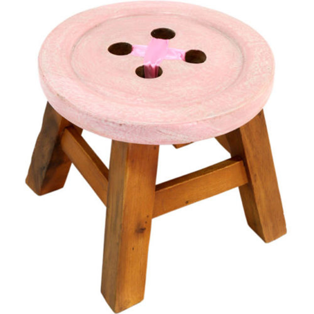 sc 1 st  Giraffe Boutique & Childrenu0027s Button Wooden Stool - Pink islam-shia.org