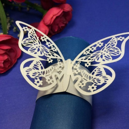 12 Pcs Elegant White Paper Butterfly Napkin Ring Holders_500x500