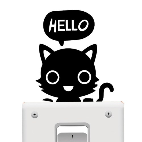Hello cat wall sticker