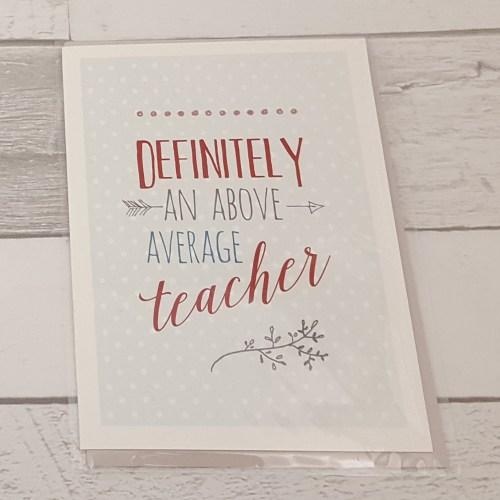 Above Average Teacher Card