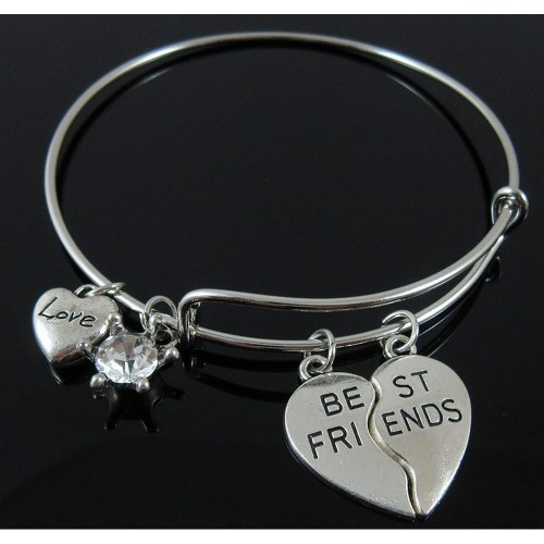 BestFriend Heart Silver Crystal Bangle Resizeable_500x500