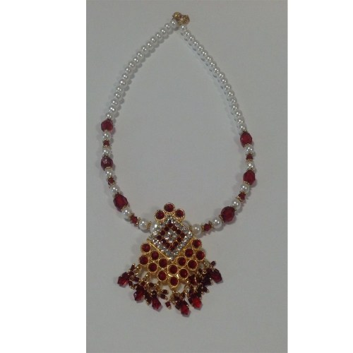 Bollywood Style Pearl Pendant Necklace  Red  Gold Silver