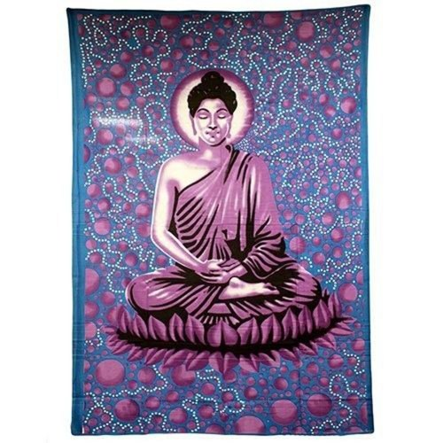 Indian Bedspreads  Wall Hangings  Blue Buddha_500x500