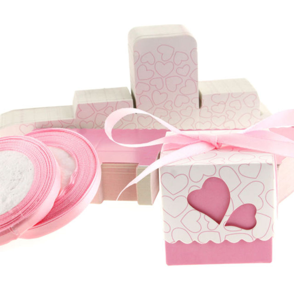 50 x Pink & White Heart Favour Boxes